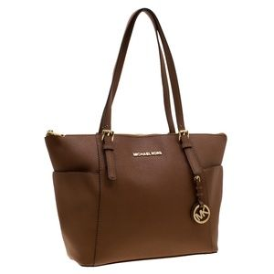 Michael Kors Tan Saffiano Leather Jet Set Zip Tote